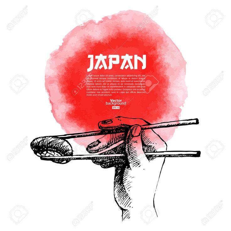 Main Dessinée Sushis Japonais Illustration Croquis Et Aquarelle Clip Art Libres De Droits , Vecteurs Et Illustration. Image 23986531.