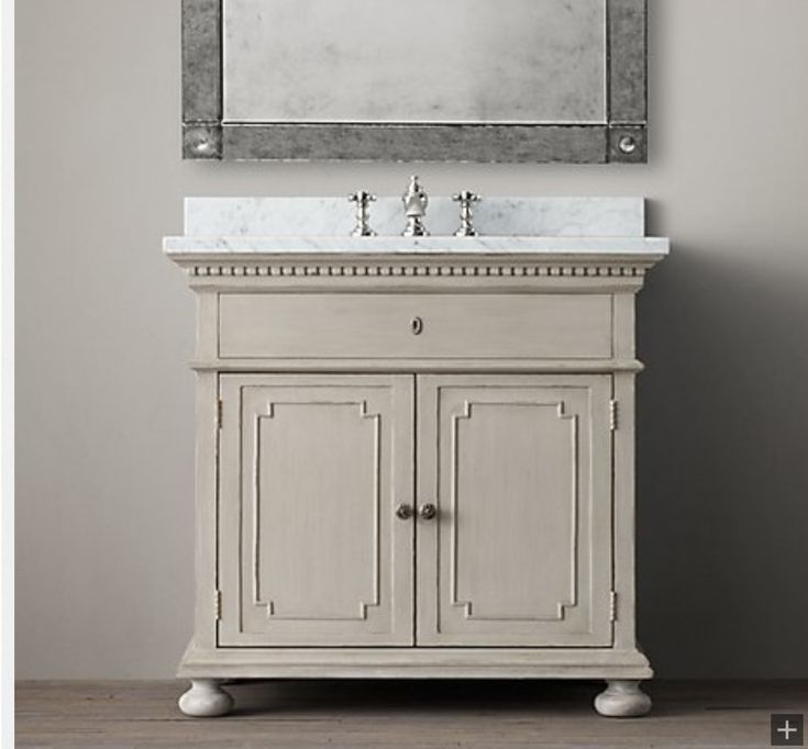 Restoration hardware vanity new bathroom pinterest for Restoration hardware bathroom cabinets