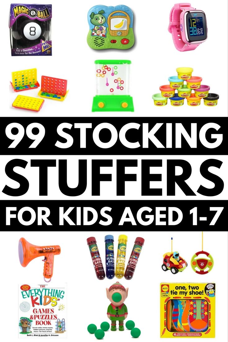 Looking for the perfect stocking stuffers for kids? Look no further! We've got 99 of the best ideas all wrapped up into one list to make your Christmas shopping easier. Whether you're looking for gifts for boys or girls, need cheap and inexpensive ideas or want to splurge a little, or just want fun, cool, and unique ideas your kids will love, this collection of popular gift ideas has you covered. Broken down by age from 12 months to 7 years, there's a toy for every budget in this list!