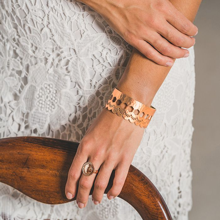 Lace Edge Open Cuff in Rose Gold.  Shop the collection at www.murkani.com.au
