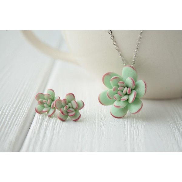 Small Green Mint Succulent Set Necklace Pendant Stud Earrings Mini... ❤ liked on Polyvore featuring jewelry, earrings, mint green stud earrings, green earrings, pendant earrings, birthday jewelry and mint earrings