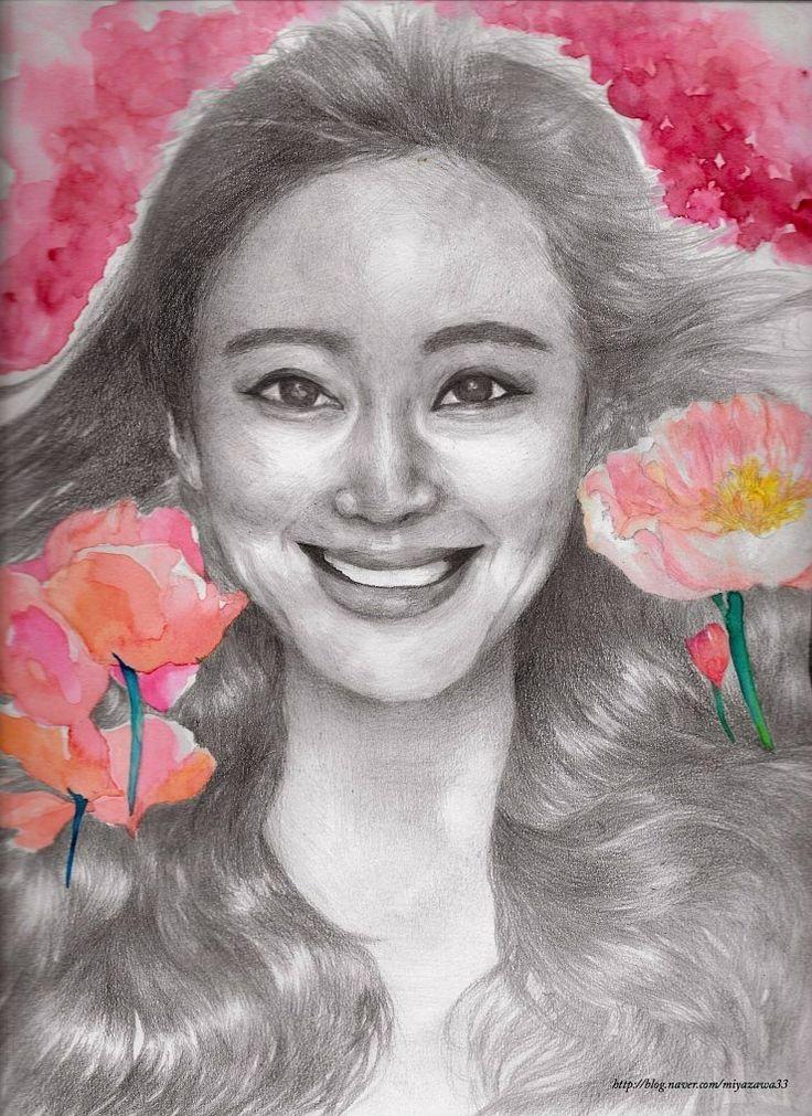 한예슬,여배우, pencils,watercolor 화려한 느낌을 표현해보고 싶었습니다. drawing, illustration