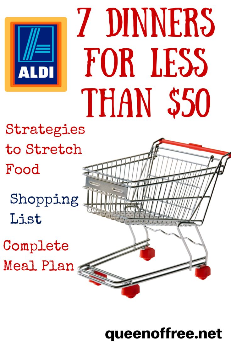Check out this ALDI Meal Plan which allows you to make 7 dinners for a family of 4 for under $50!