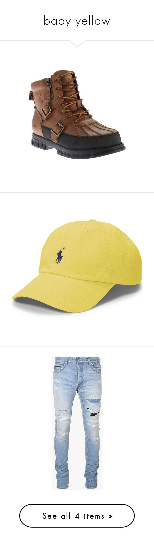 """""""baby yellow"""" by slow-ccxl ❤ liked on Polyvore featuring tops, polo ralph lauren, short sleeve tops, polo shirts, slimming tops, yellow polo shirt, men's fashion, men's shoes, men's boots and casual"""