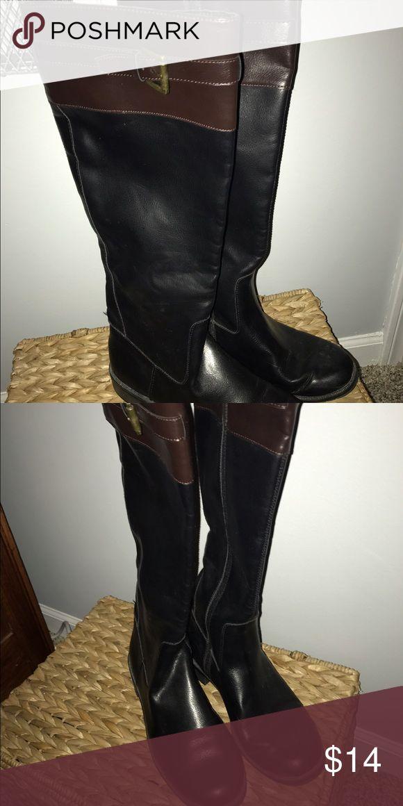 black zip up boots with brown top black zip up boots with brown top Shoes Lace Up Boots