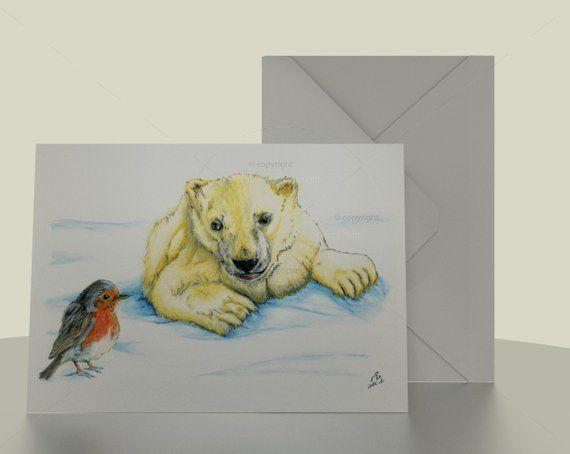 Robin And Polar Bear Christmas Card 7x5 Print Of Watercolour