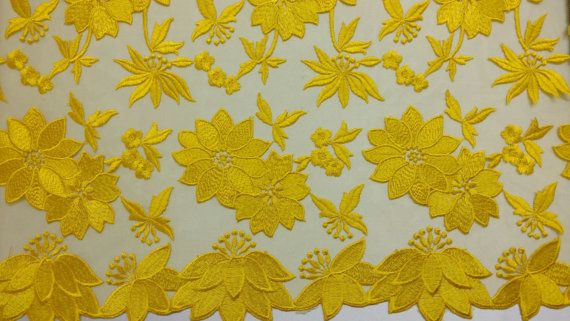 Yellow Floral Embroidered Lace 5259 Width by LargeQualityFabrics