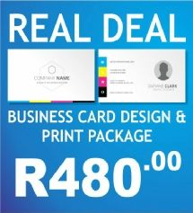 The AdWorx Design Studio's Real Deal package.  You get 500 Business Cards printed in Full Colour (CMYK) on both sides on 350gram paper.  UV Gloss coat on one side.  A unique and captivating layout and design and final print is 90 x 50mm with square corners. Qty:    500 Business Card run quantity per name. Lead Time: Approximately 7-10 working days.  Delivery:  Free delivery in Klerksdorp, Orkney, Stilfontein and Hartebeesfontein. Contact us for delivery rates for the rest of South Africa.