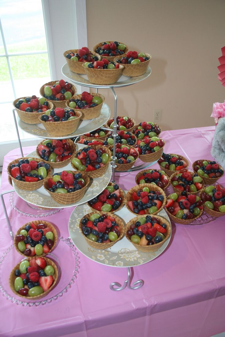 Individual fruit cups of grapes, strawberries, melons, blueberries, and red raspberries, served in waffle bowls, made a lovely presentation for my daughter's baby shower.