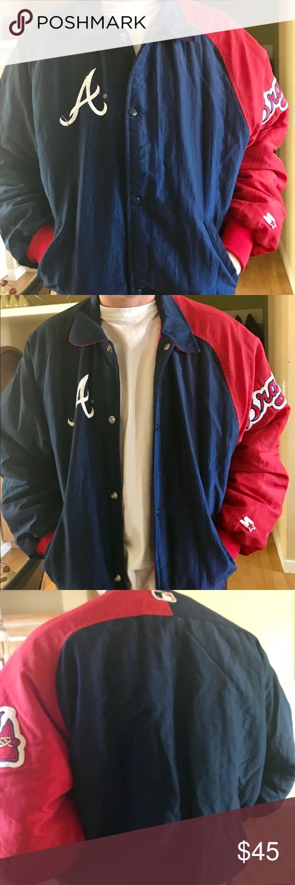 "Vintage Atlanta Braves Starter Jacket Great baseball jacket for all you Braves Fans. All nylon with lining, this red and blue bomber jacket is in excellent condition. Slight fray on ""A"" that can be easily fixed...see photo. STARTER Jackets & Coats Bomber & Varsity"
