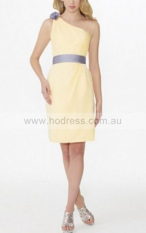 Sheath One Shoulder Knee-length Polyester Natural Formal Dresses gt3408--Hodress