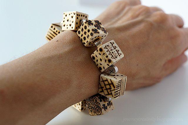 Journey into Creativity: Pyrography cube bracelet