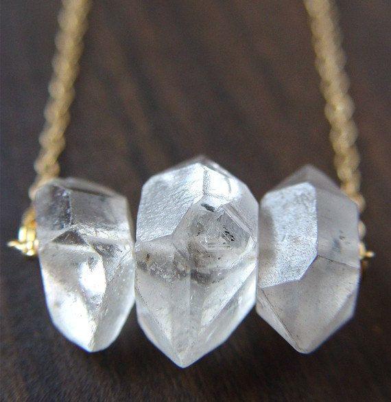 Herkimer Diamond Trio Necklace, 14k Gold Filled