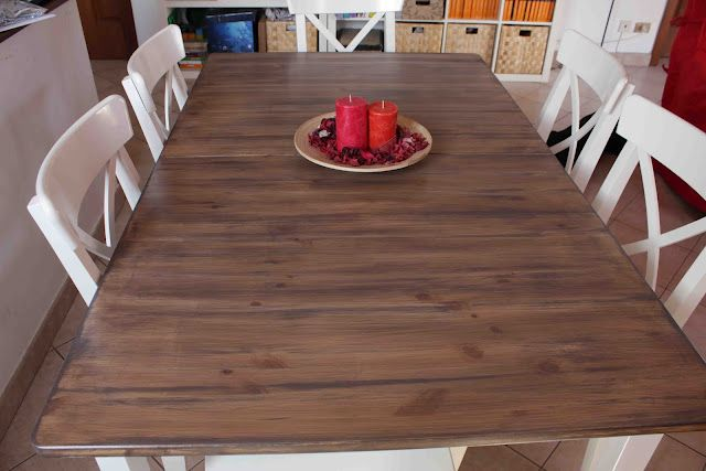 What a great idea! Inexpensive IKEA table sanded and re-finished. I would love to do the whole thing in a walnut stain (not white).