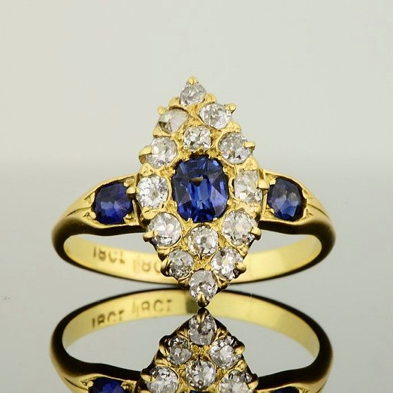 Special promotion! Victorian sapphire and diamond navette shape marquise ring
