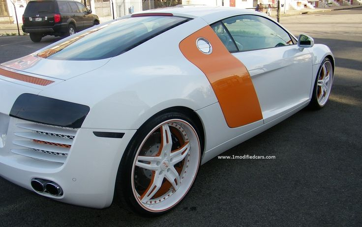 Modified Audi R8 V10 with custom white 21″ rims Modified Audi R8 V10 with custom white 21″ rims and world first LED headlights Audi R8 V10 is using 5.2 liter FSI engine which is the sam…