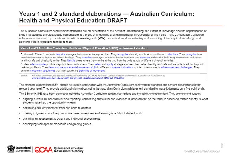 Standard elaborations - Year 1 and Year 2 - Australian Curriculum Health and Physical Education