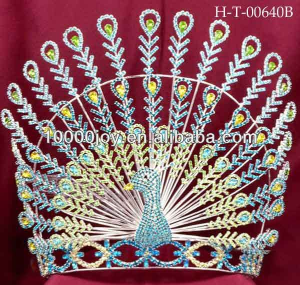 Peacock crowns tiaras,big pageant crown,tall animal tiaras for sale