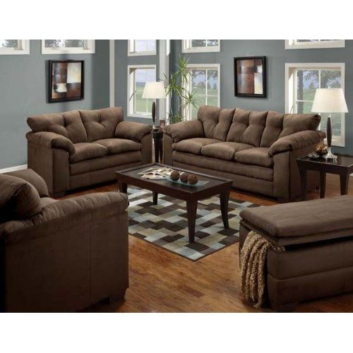 Luna Chocolate Microfiber Upholstery Sofa And Loveseat Set