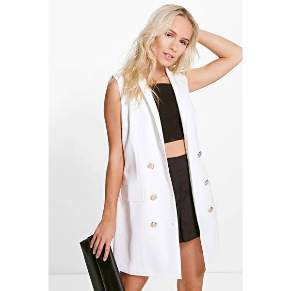 Boohoo Petite Petite Amy Button Detail Sleeveless Blazer Dress ($37) ❤ liked on Polyvore featuring dresses, cream, white cami, evening dresses, special occasion dresses, white bodycon dress and petite cocktail dress