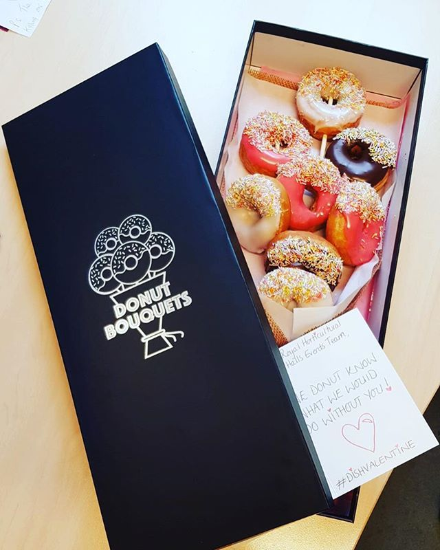 Donut mind if I do! #dishvalentines thank you for this fabulous donut bouquet @foodbydish #valentines #venue #caterer #events #donutboquet