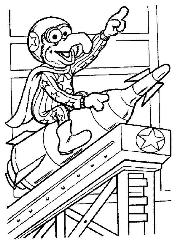 Muppets in space coloring | Más Dibujos para Colorear: Plaza Sesamo para Colorear