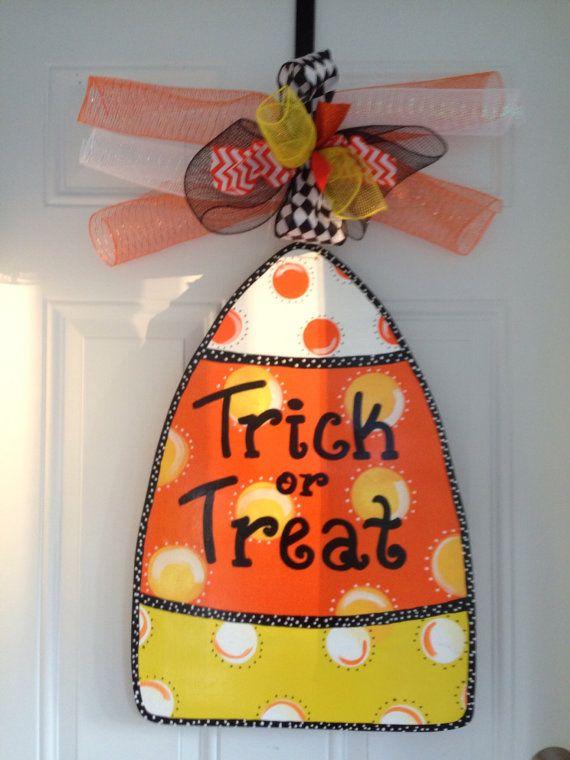 Candy Corn door hanger halloween door by Furnitureflipalabama