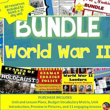 """World War II BUNDLE(Secondary World History)  This product includes everything you need to teach a 17-day unit on World War II for your secondary World History class.  Purchase in BUNDLE and you will automatically save 20% off of each product! A pacing guide and detailed lesson plans are included! """"Work smarter not harder!"""""""