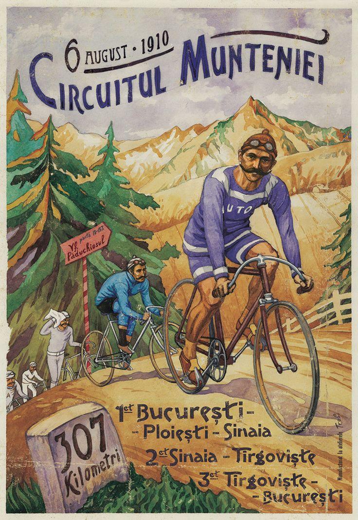 Circuitul Munteniei, Concurs Ciclism, 1910, Romanian Vintage Poster.