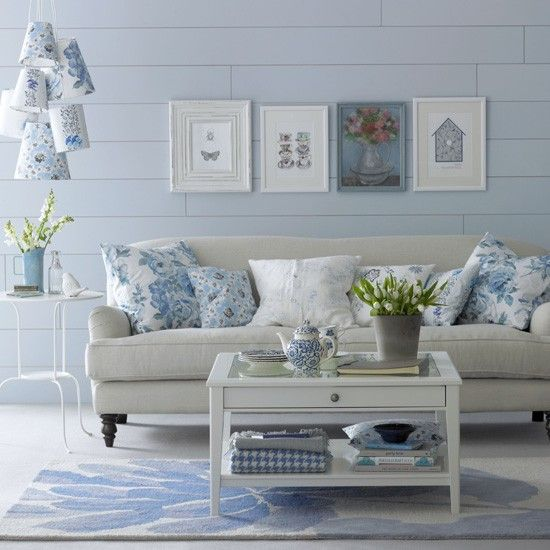 Floral blue living room