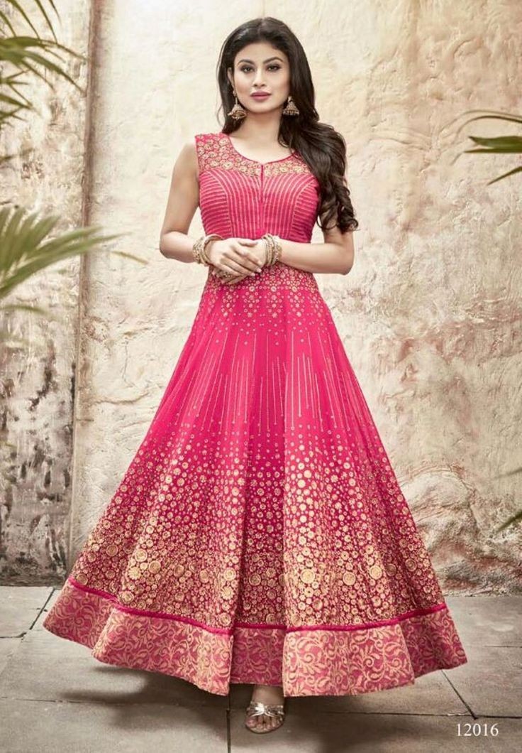 Buy Apparels- Mouni Roy Pink Colour Faux Georgette Designer Anarkali Suit