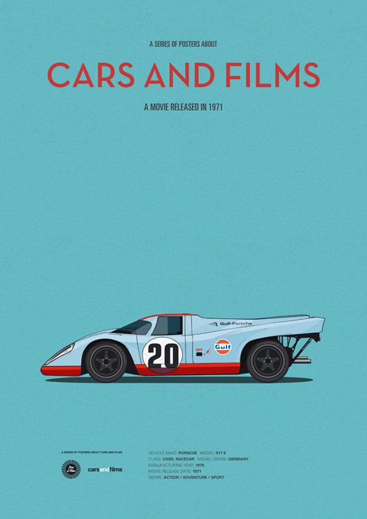 Le Mans car movie poster art print A3 Cars And by CarsAndFilms