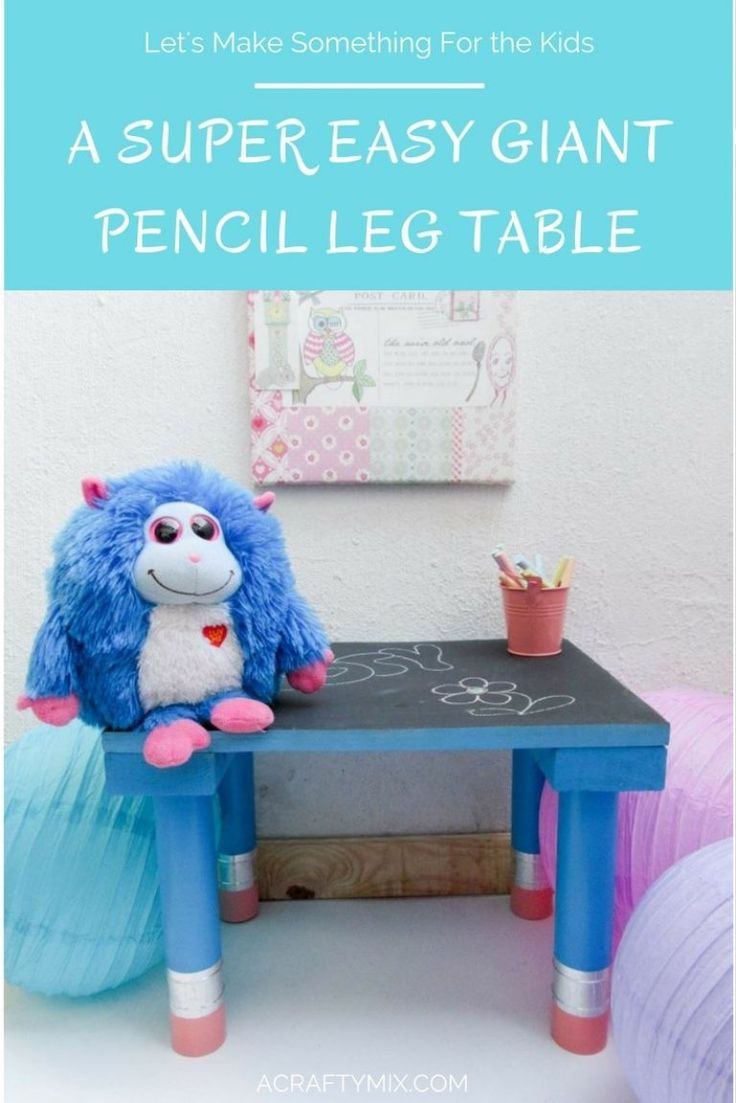 I just love this little blackboard table with giant pencil legs and the tutorial is great too