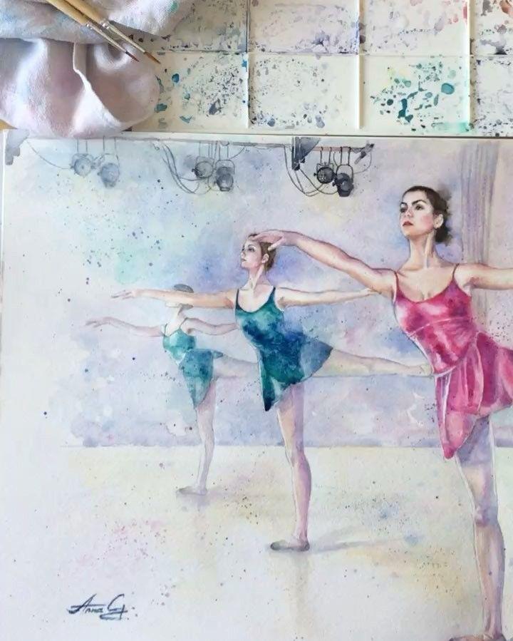 """""""Mi piace"""": 74, commenti: 7 - Anna G. (@anna_g_fashion) su Instagram: """"~ Ballet Class ~ Watercolour…"""""""