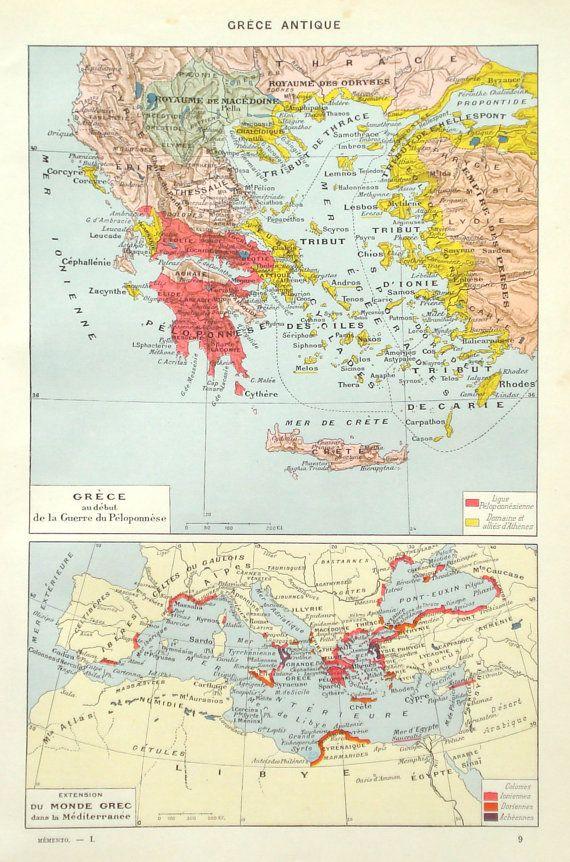 Ancient Greece historical map original 1936 by PaperThesaurus