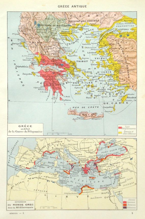 Ancient Greece historical map original 1936 by PaperThesaurus
