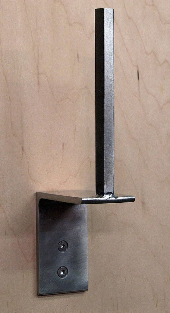 Modern toilet paper holder, Stainless Steel / Blackened mild steel Minimal sleek design