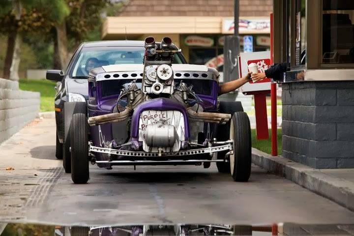 Custom Purple Painted Three Window Coupe Hotrod Hot Rod