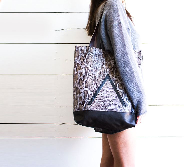 Snake Leather Shopper Modern brown Leather Tote Tan Leather Hobo Bag Laptop Purse Market Leather Bag Python Leather Shopper (159.99 USD) by gmaloudesigns