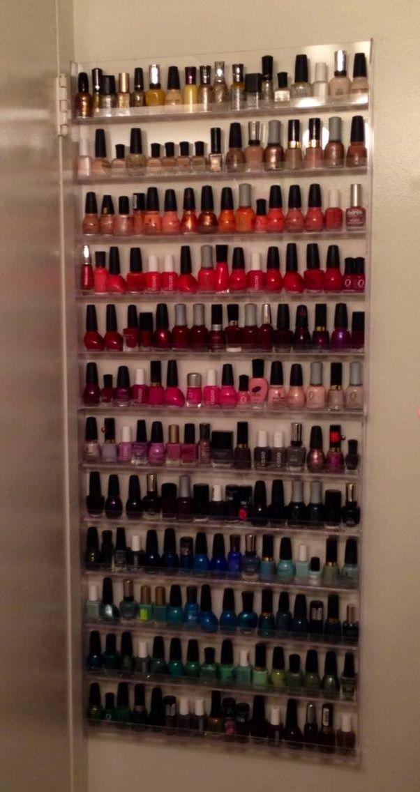 My 2 nail polish racks behind my bathroom door. ♥