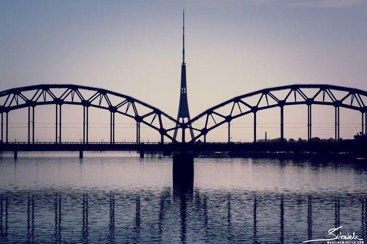 Riga. Daugava River. A bridge. Symmetry. Love this city. Have to see it again. Travel.