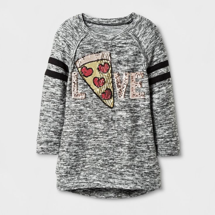 This adorable 3/4-Sleeve Pizza Love Tunic from Miss Chievous will be a hit in your little girl's wardrobe. The gray and black tunic is embellished with a piece of pizza made out of sequins, and even better, the pepperonis are made to look like hearts. Perfect to pair with leggings or jeans, this shirt is so cute, she'll want to take a bite right out of it.