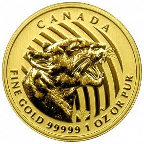2015 Gold Canadian Growling Cougar - 1 oz.