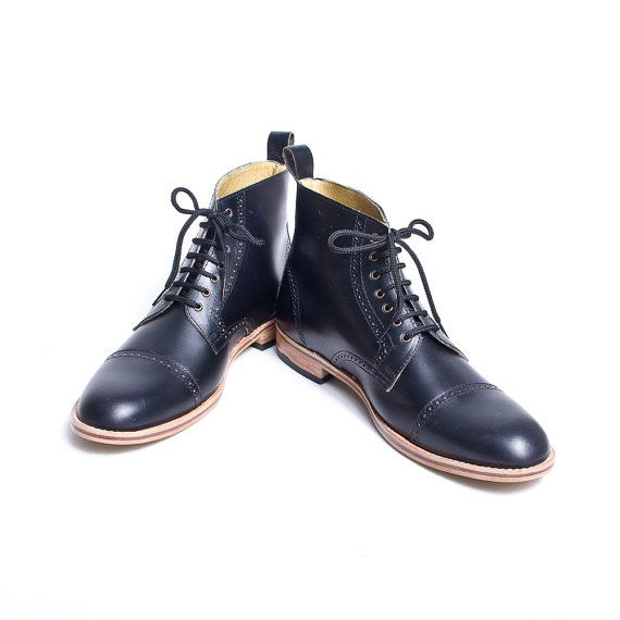 Unisex black leather bespoke oxford boots FREE by goodbyefolk