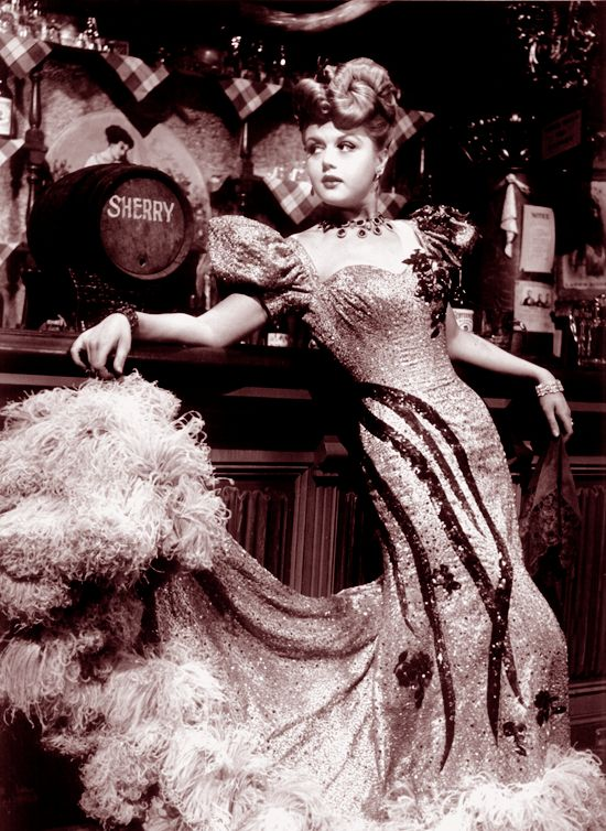 A young, very pretty Angela Lansbury playing a Western saloon dancer in the 1940s film The Harvey Girls.