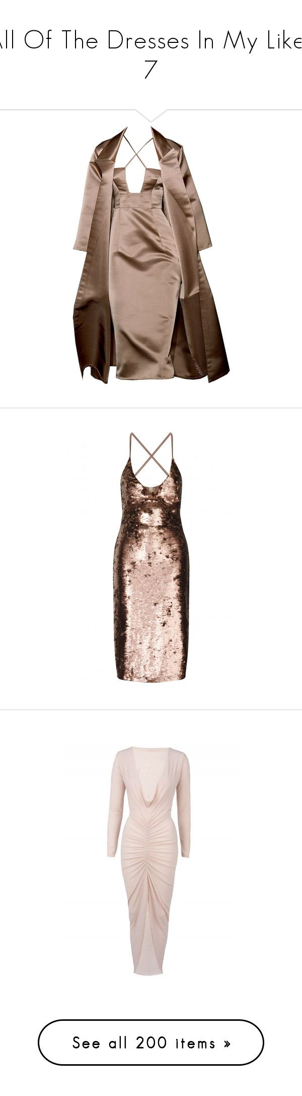 """All Of The Dresses In My Likes 7"" by velvet-violets ❤ liked on Polyvore featuring dresses, rose gold bodycon dress, sequin cocktail dresses, form fitting cocktail dresses, pink sequined dresses, pink sequin cocktail dress, white cocktail dress, white cocktail party dresses, white cowl neck dress and night out dresses"