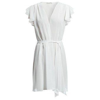 Oscar de la Renta Signature Simply Glamorous Wrap Robe - Short Sleeve (For Women) in Pearl