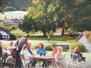 Guests at Millbrook Resort enjoying an outdoor cafe on a beautiful spring day