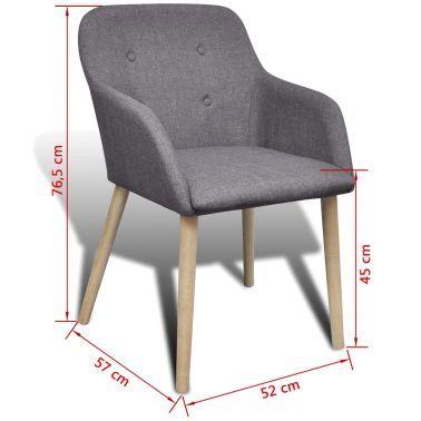 Chaise gondole accoudoir intérieur chêne et tissu 4 pièces gri foncé[7/7]