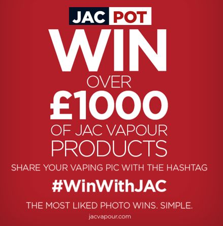 TO ENTER Take a photo of your vape set-up or selfie while vaping then either: - Upload it via the entry form. - Post on Twitter with hashtag #WinWithJAC - Post on Instagram with hashtag #WinWithJAC - Post it to our Facebook page with hashtag #WinWithJAC - Upload via our Facebook Competition tab  SHARE FOR MORE CHANCE TO WIN! - LIKE the image in the competition gallery not on the post - SHARE the gallery link. Get friends + family to vote for your image - MOST LIKES on the gallery image wins